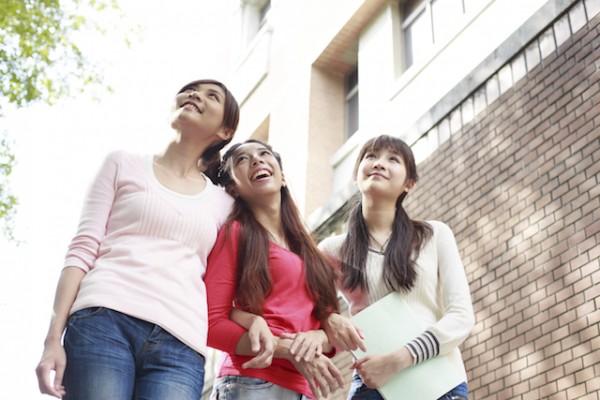 Asian young girls at campus