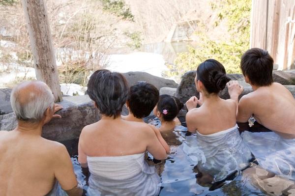Three-generation family in hot spring