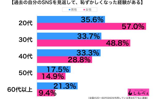 過去のSNS性年代別グラフ